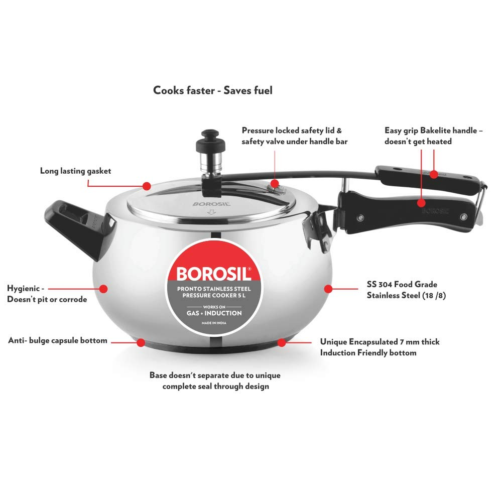 Features of Borosil Pronto Pressure Cooker