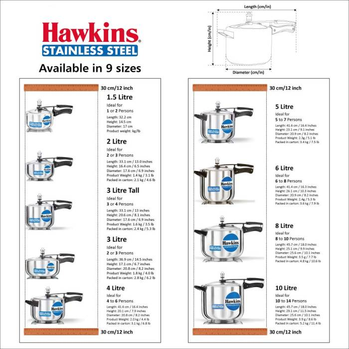 Hawkins Stainless Steel Pressure Cooker Sizes