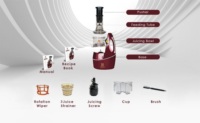Features of Hestia Appliances Nutri-Squeeze Cold Press Juicer